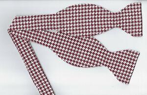 Burgundy Red Bow tie / Dark Red & White Houndstooth Bow tie / Self-tie Bow tie
