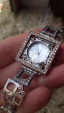 Israel Sterling Silver 925 Artisan Watch Bracelet Women's G.R.A.S rhinestones
