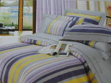 Cotton Queen Size Grey& Lilac Comforter Cover Sheet Set Yellow Tan Stripe 4pc