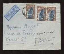 CEYLON KG6 1948 AIRMAIL...3 x 25c PICTORIALS to FRANCE