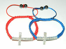 Shamballa Hanmade Red or Blue with Rhienstones Cross Bracelet BB10
