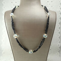 "VTG 1980's 2 Strand Black Crystal w/ Clear AB Bead Stations 27"" Barrel Necklace"