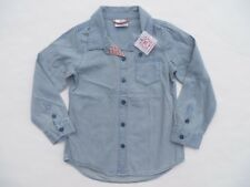Hanna Andersson Boys Shirt 120 Denim Light Blue Cotton NEW 6-7 Light Wash Button