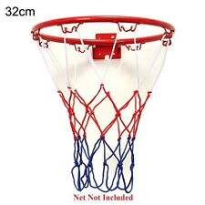 Wall Mounted Hanging Basketball Outdoor Rim Hoop Goal Metal Netting 32cm New