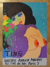 """Walasse Ting Original Lithographic Poster """"Bleue"""" 1974 Galerie Maeght"""