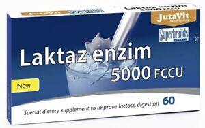 JutaVit Lactase Digestive Enzyme 60 Tablets 5000FCCU Improves Lactose Digestion