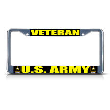 VETERAN U.S. ARMY MILITARY Chrome Metal Heavy License Plate Frame Tag Border