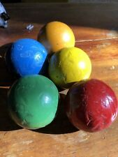 "5 Antique Primitive 3-5/16"" Smooth Solid Color Wood Croquet Balls"