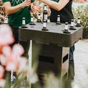 Siena Garden Biertisch schwarz mit Deckel, für Bierkästen