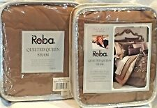 Reba Harmony San Marco Camel Brown Quilted Standard / Queen Pillow Shams Nip