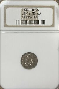 1832 LM-12 NGC MS63 Capped Bust Silver Half Dime