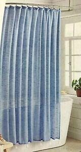 Threshold Blue Textured Bathroom 100% Cotton Shower Curtain with Tassels NEW