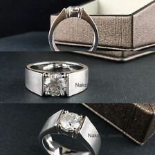 2Ct White Round Cut Moissanite Man's Engagement Wedding Ring 925 Sterling Silver
