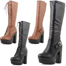 Synthetic Leather Knee High Boots Lace Up Shoes for Women