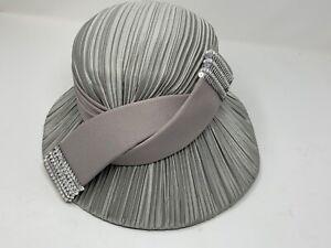 "Women's Grey Wool Donna Vinci Couture Hat 22 1/2""-Rhinestones/Sequins-GLAM! EUC"