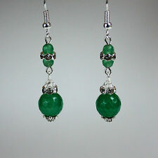 Green gemstones crystal vintage silver drop earrings wedding bridesmaid gift
