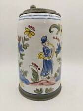 Antique 18th Century Hand Painted Faience Pottery Pewter Beer Stein Mug German