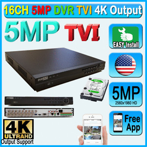 16CH TVI 5MP DVR H265 4k Output 2560x1960 Record System phone P2P Free App