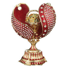 Russian Faberge Twisted Egg with Basket of Flowers 4.8'' (12 cm) red