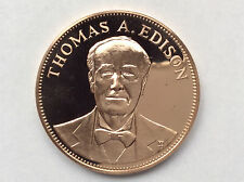 1970 Franklin Mint Thomas Edison Proof Bronze Medal Great Americans A1819