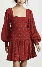 People Two Faces Mini Red Long Sleeve Dress Retail Small