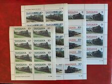 TANZANIA 1985 MNH MINISHEET x 4 LOCOMOTIVE TRAINS RAILWAY