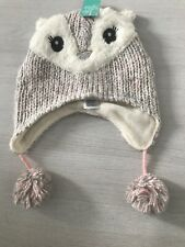 Monsoon Girls Owl Hat With Pom Poms 3-6 Years Brand New