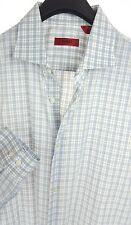 HUGO BOSS Mens White Plaid LS Casual Dress Shirt 15.5-34 Cotton