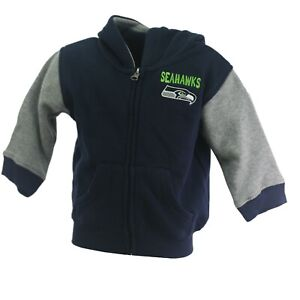 Seattle Seahawks Official NFL Baby Infant Toddler Size Full Zip Sweatshirt New
