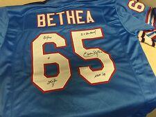 Elvin Bethea Signed Auto Custom Oilers Jersey w/Inscription JSA Witness