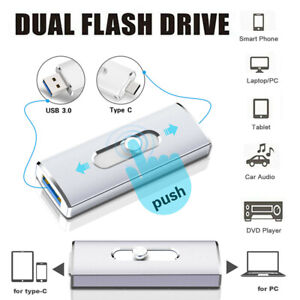 USB 3.0 Type C OTG 64GB Flash Drive Memory USB Stick 2 In 1 Dual Thumb Pen Drive