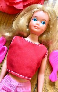 Vintage GROWING UP Skipper Doll w OUTFIT Shoes Brush Barbie RED Pink Top + 60s G