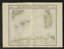 """Iles Baléares et Sardaigne"" #25 W. Med Sardinia Balearics VANDERMAELEN 1827 map"