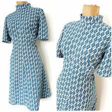 Vintage 60s MOD Shift Dress Size Large Empire Waist Retro Blue Geometric
