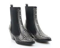 New Ladies Women Studded Diamante Elasticated Pointed Toe Chelsea Boots UK 3-8