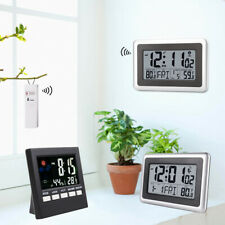 LCD Wall Desk Alarm Atomic Clock Snooze Time Indoor & Outdoor Temperature Meter