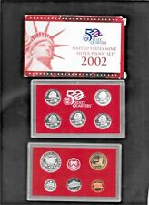 2002 U.S. Mint Silver Proof Set 10 Coins Original Box & COA