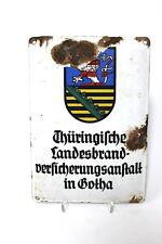 Altes Emailschild Boos & Hahn Versicherung Gotha
