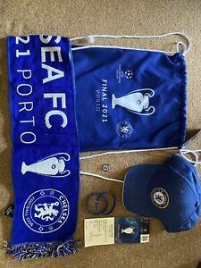 chelsea champions league, ticket, scarf, pin, cap, bag.