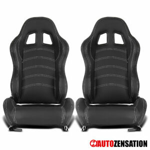 Reclinable Black White Stitch PVC Leather Sporty Racing Seats+Slider Left+Right