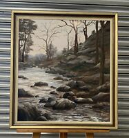 Original Vintage Oil Painting Of Woodland Stream Scene By Sheila Ball