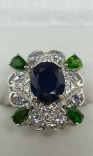❤jAYNES GEMS 3CT BLUE SAPPHIRE TANZANITE, CHROME DIOPSIDE RING SIZE  UK-P.US7.5