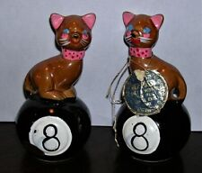 Vintage Hex-Pussy Cats on 8 Ball Salt & Pepper Shakers Set w/cork plugs Japan