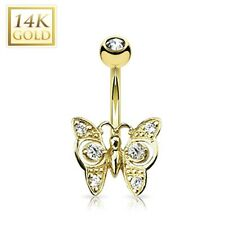 Body Piercing Jewelry * Jeweled Butterfly 14K Solid Gold Belly Button Navel Ring