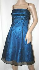 BRIDAL FORMAL PARTY PROM DRESS CORSET TOP SHEER TUNIC ROYAL BLUE GOWN LACE 4 S