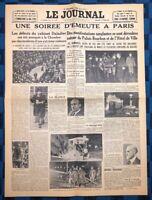 La Une Du Journal Le Journal 7 Février 1934 Émeutes À Paris Le 6 Février