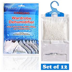 12 X Dehumidifier Hanging Bags Mould Mildew Damp Wardrobe Drawers Sachet Pack