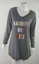 Naughty Not Nice Joe Boxer Juniors Medium Gray Solid Pajama Gown Sleepshirt NWT