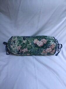 "Vintage Laura Ashley Ashbourne  Round 16"" Long Bolster Pillow, Pink Hydrangeas"
