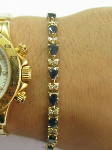 "Natural Ceylon Sapphire & Diamond Yellow Gold Tennis Bracelet 14Kt 7"" 13.75CT"